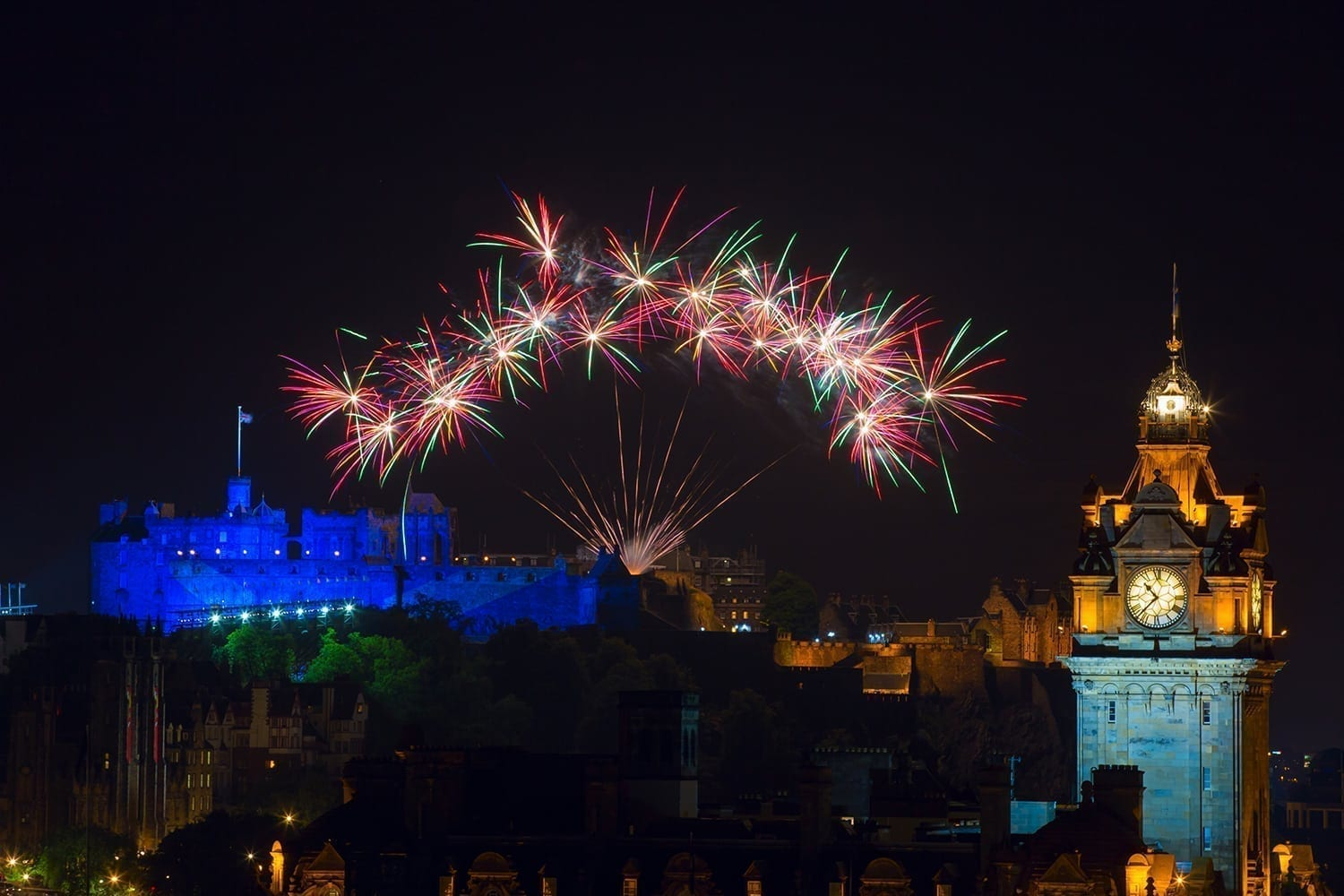 fireworks over the castle to mark the end of the edinburgh