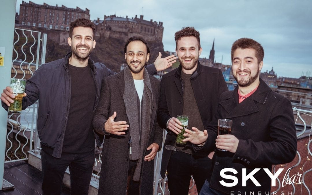 Night out at SKYbar with the best view of Edinburgh Castle